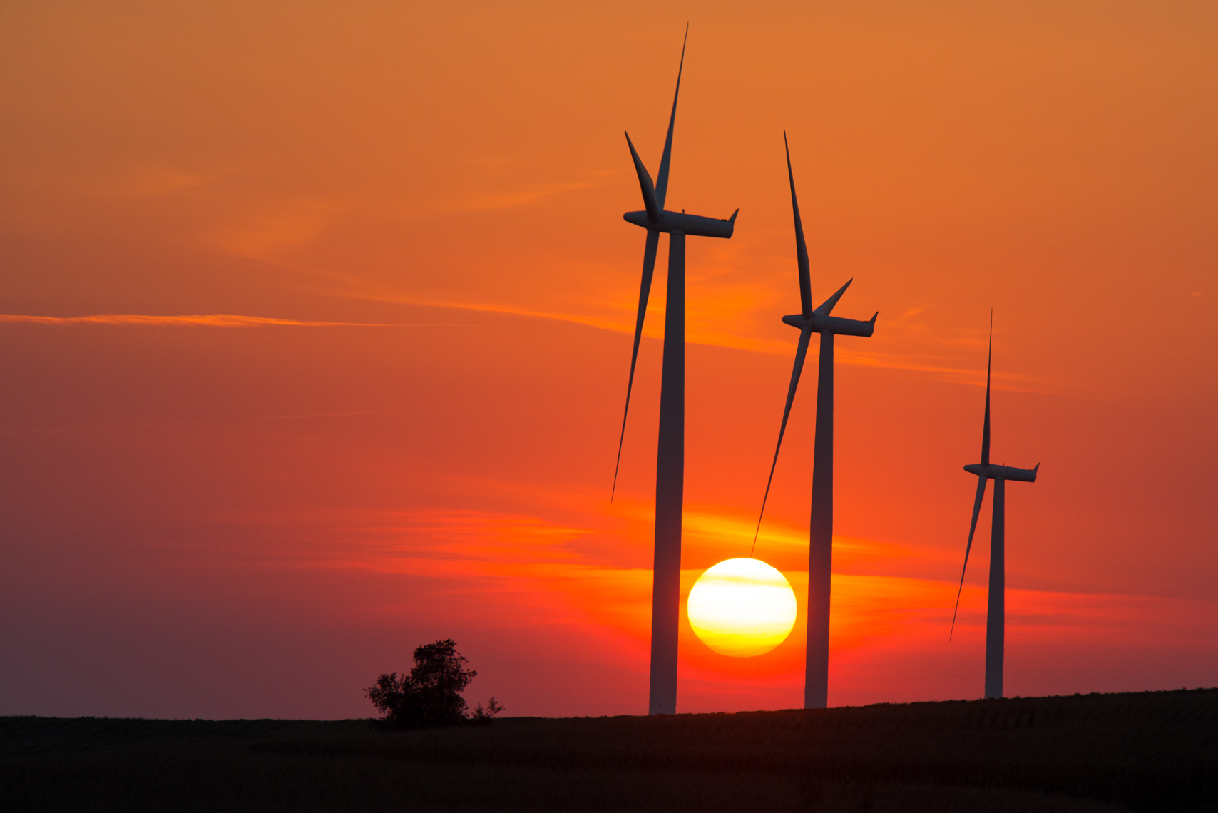 Iowa Wind Turbines at Sunset | Clean Energy Construction Photographs